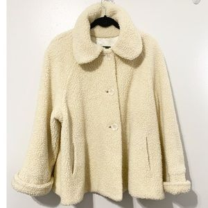Vintage Orvis Faux Shearling Sherpa Jacket Ivory 3 button Closure Size Large